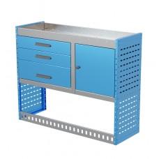Van Shelving Unit 1000h x 1250w x 435d 3 Drawer Unit With Cabinet