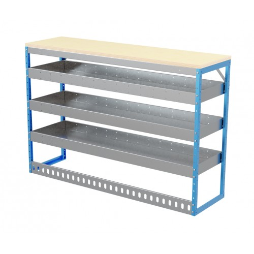Van Shelving Unit 1000h x 1500w x 435d 3 Shelf Workbench 25mm oiled Worktop