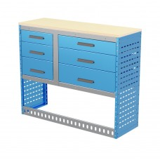 Van Shelving Unit 1030h x 1250w x 435d Workbench with 6 Drawer