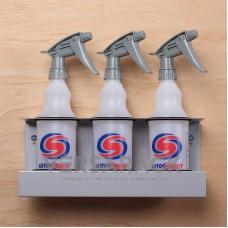 Spray bottle holder (up to 70mm) for 3 bottles.