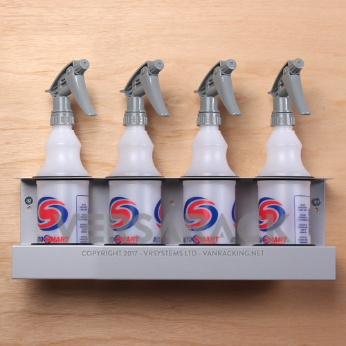 Spray bottle holder (up to 70mm) for 4 bottles.